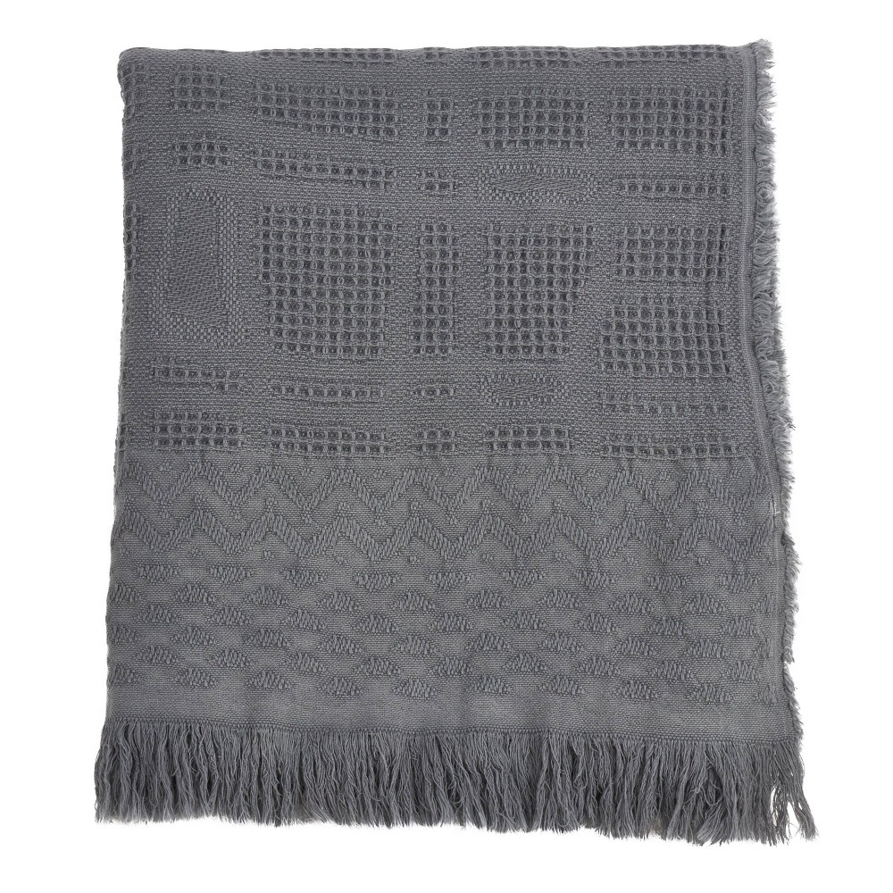 Cross Hatch Waffle Weave Throw Blanket Gray - Saro Lifestyle from Saro Lifestyle