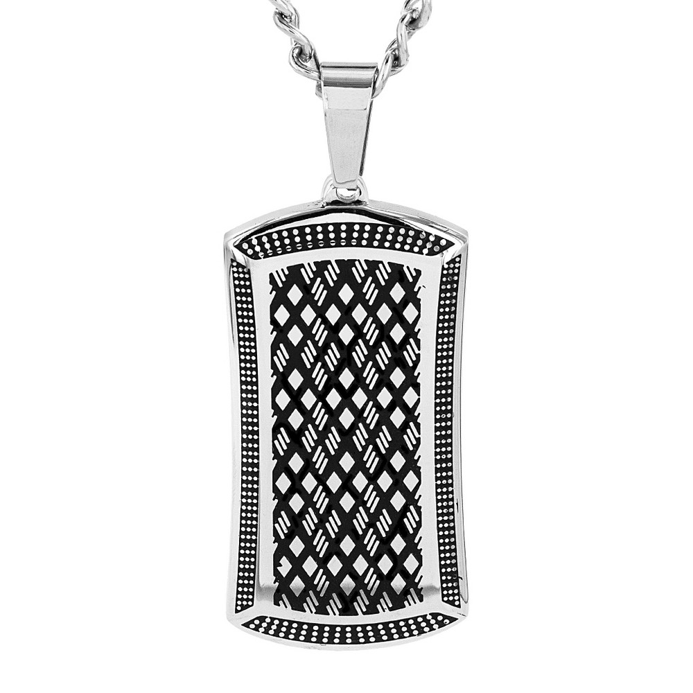 Crucible Men's High Polish Stainless Steel Antiqued Dog Tag Pendant, Silver/Silver from Crucible