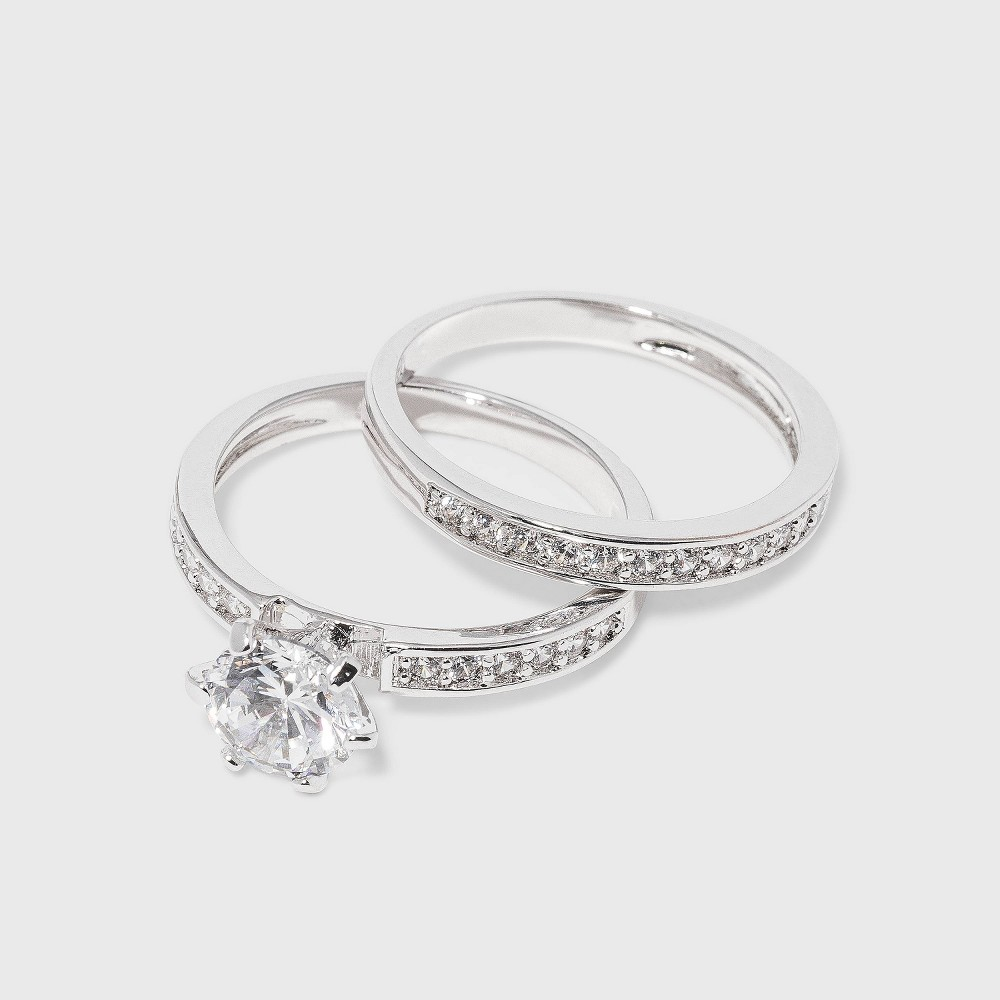 Cubic Zirconia Engagement Ring - Silver 8 from Distributed by Target