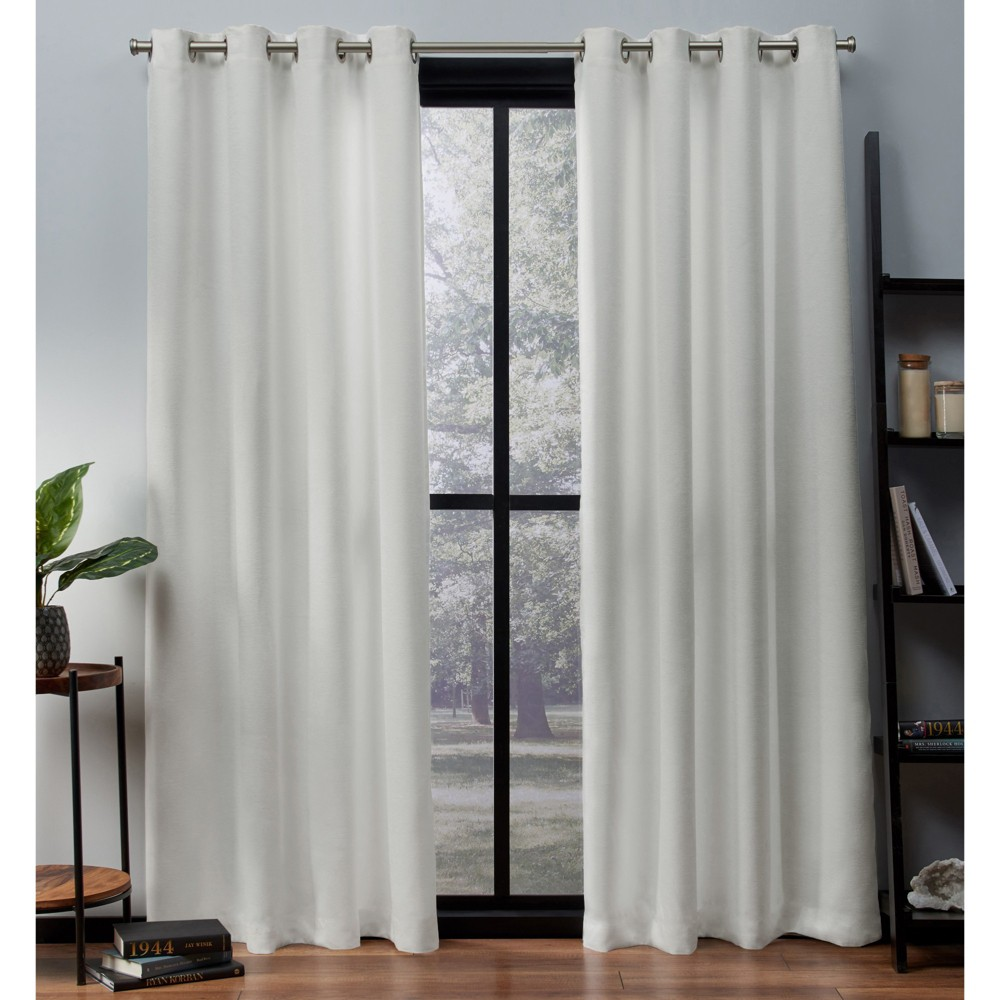 "Set of 2 108""x52"" Oxford Textured Sateen Thermal Room Darkening Grommet Top Window Curtain Panel Vanilla - Exclusive Home"