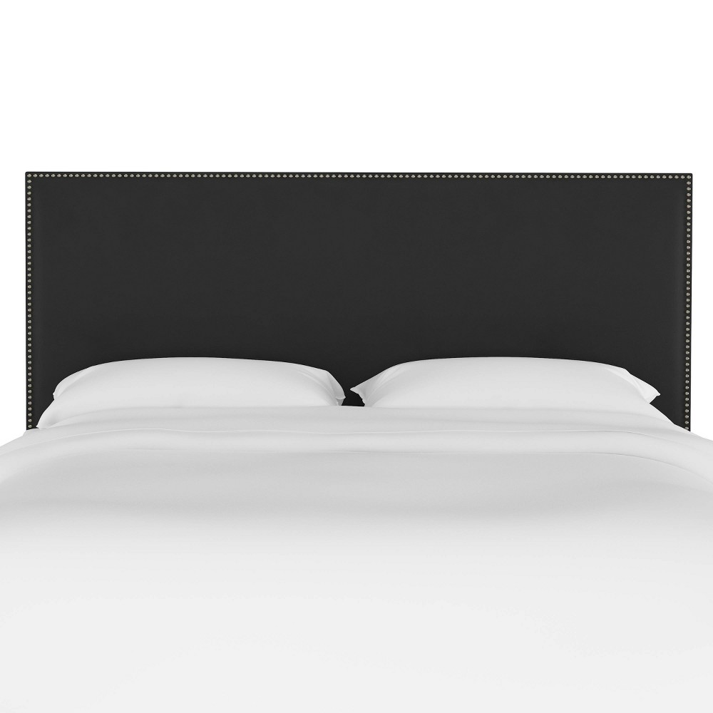 King Arcadia Nailbutton Headboard Velvet Black - Skyline Furniture from Skyline Furniture