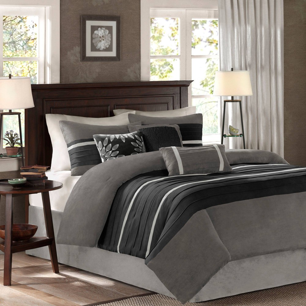 Black/Gray Dakota Microsuede Comforter Set California King 7pc 7pc