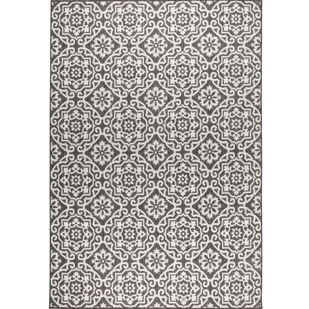 "Danica 5'2"" x 7'2"" Outdoor Patio Country Rug Black/Gray - Nicole Miller from Nicole Miller"