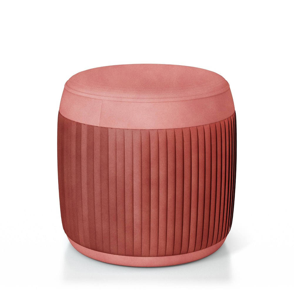 Darby Welt Trim Ottoman Pink - HOMES: Inside + Out from HOMES: Inside + Out