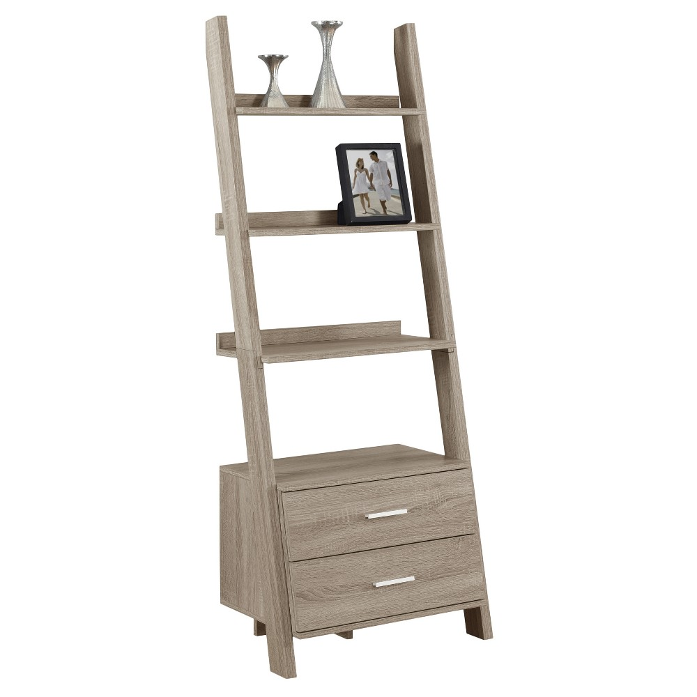 "69"" Ladder Bookcase with Drawers Dark Taupe - EveryRoom from EveryRoom"