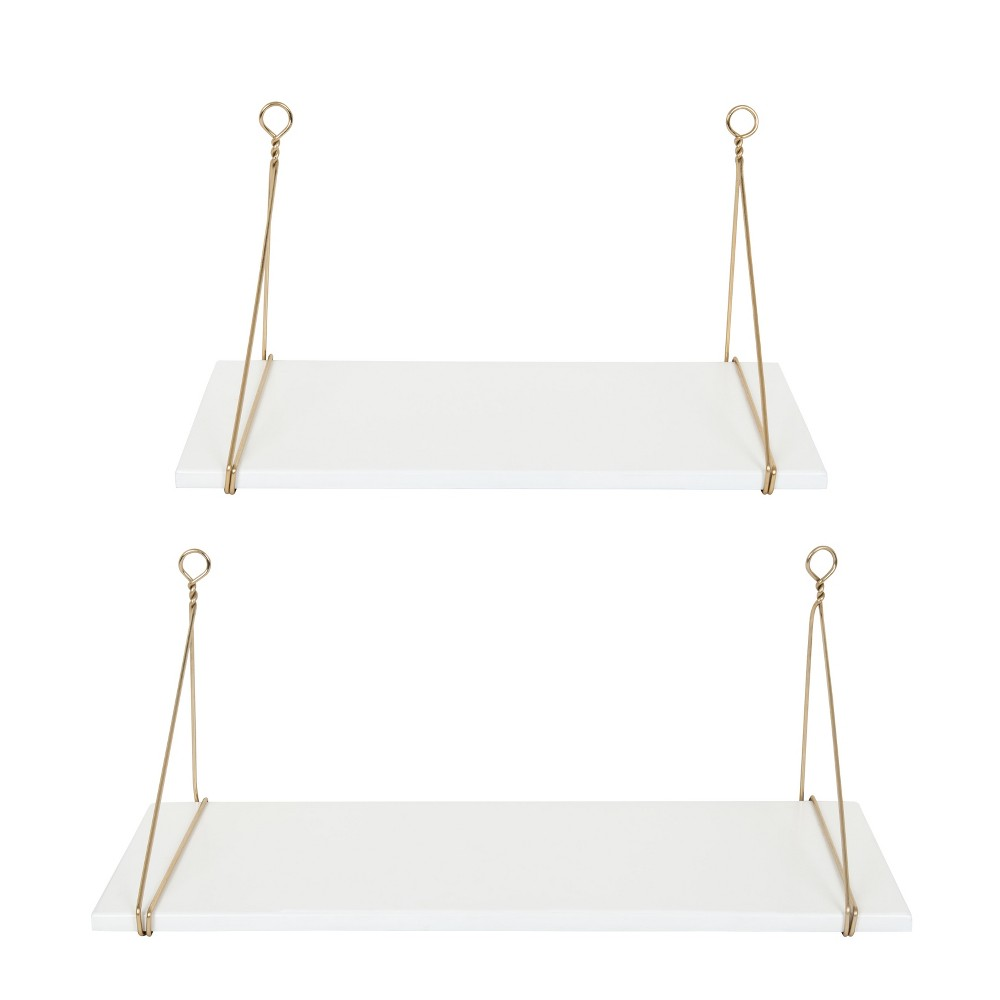 "24"" x 9.8"" 2pc Vista Wood and Metal Shelf Set White/Gold - Kate & Laurel All Things Home from Kate & Laurel All Things Decor"