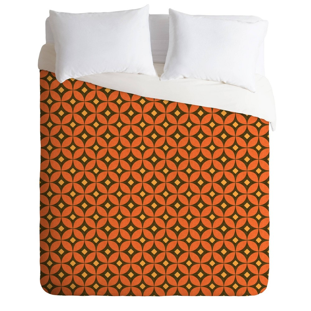 Deny Designs Caroline Okun King Pumpkin Spice Duvet Cover Set Orange