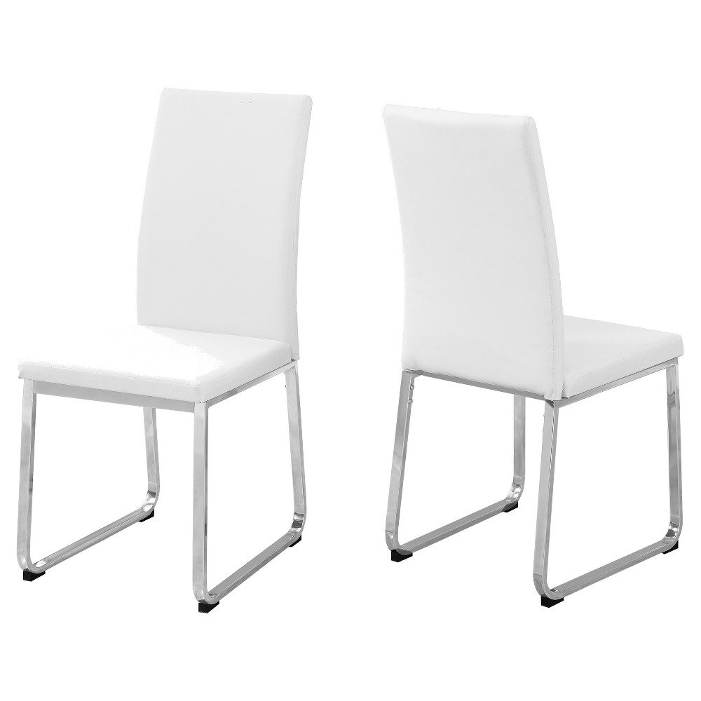 2pc Dining Chair Leather Chrome/White - EveryRoom from EveryRoom
