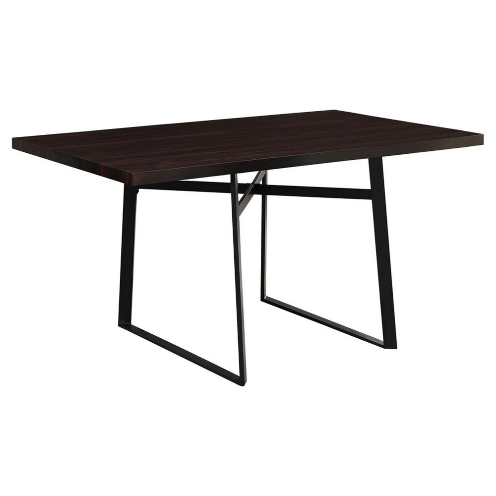 Dining Table - Cappuccino, Black Metal - EveryRoom from EveryRoom