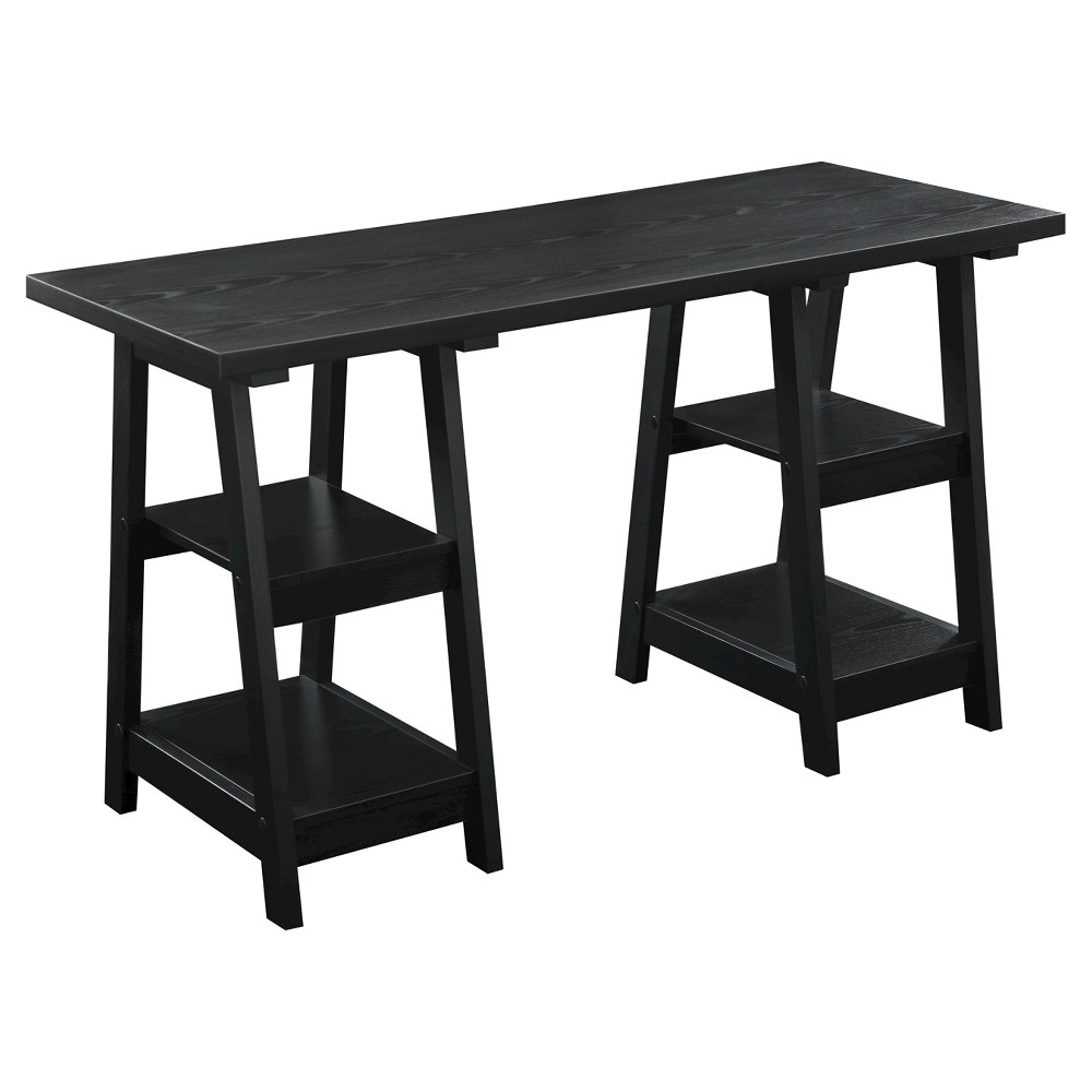 Double Trestle Desk Black - Breighton Home from Breighton Home