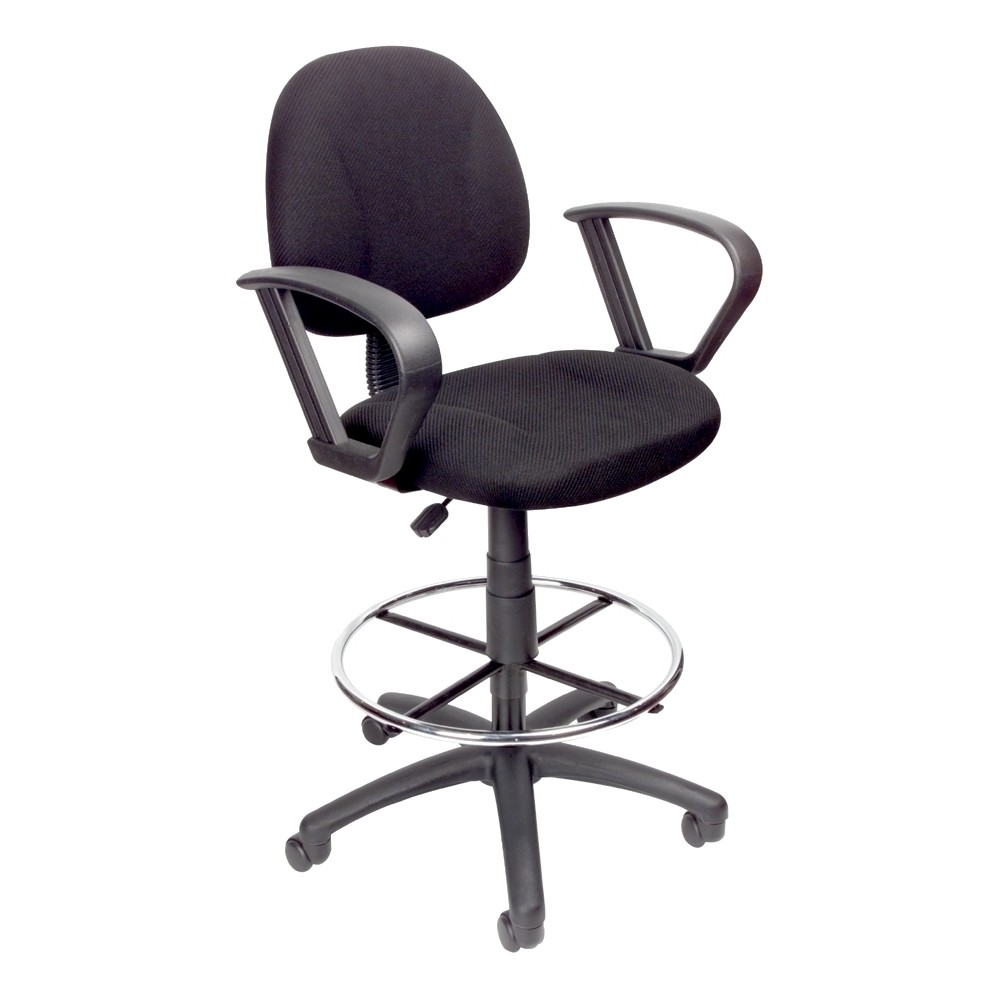 Drafting Stool with Footring and Loop Arms Black - Boss Office Products from Boss Office Products