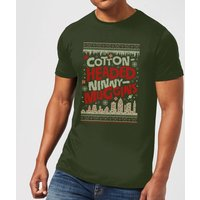 Elf Cotton-Headed-Ninny-Muggins Knit Men's Christmas T-Shirt - Forest Green - XL - Forest Green from Elf