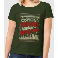 Elf Cotton-Headed-Ninny-Muggins Knit Women's Christmas T-Shirt - Forest Green - M - Forest Green from Elf