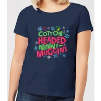 Elf Cotton-Headed Ninny-Muggins Women's Christmas T-Shirt - Navy - XL - Navy from Elf