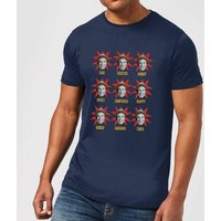Elf Faces Men's Christmas T-Shirt - Navy - XL - Navy from Elf