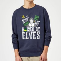 Elf Raised By Elves Christmas Sweatshirt - Navy - XXL - Navy from Elf