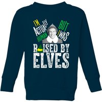 Elf Raised By Elves Kids' Christmas Sweatshirt - Navy - 11-12 Years - Navy from Elf