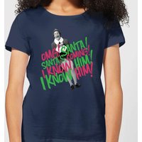 Elf Santa! I Know Him! Women's Christmas T-Shirt - Navy - S - Navy from Elf