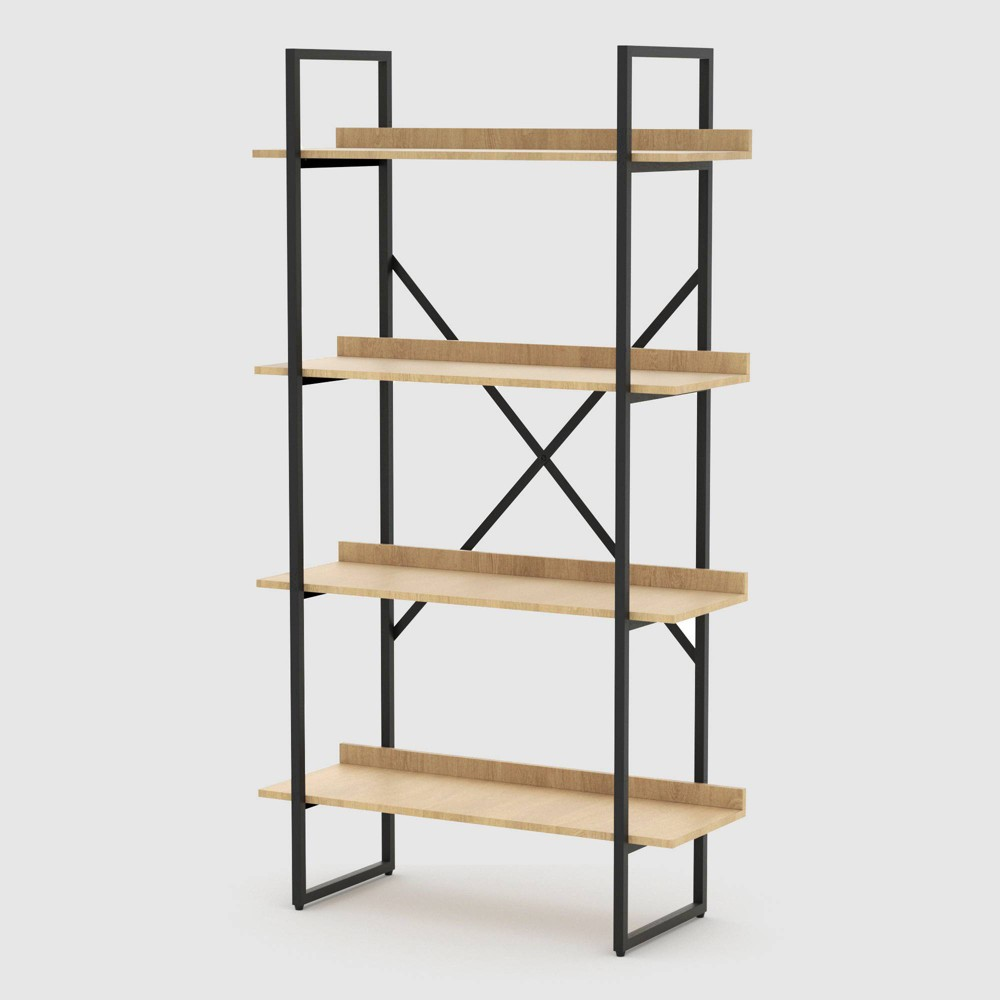 Emery 4 Tier Shelf Bookcase Light Wood - RST Brands