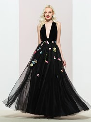 Ericdress A-Line V-Neck Sleeveless Embroidery Evening Dress 2019