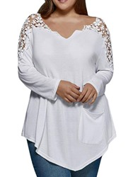Ericdress Asymmetric Hollow V-Neck Plus Size Pocket Blouse