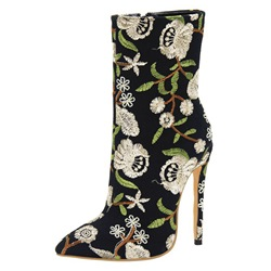 78cc0e1181ac Ericdress Embroidery Pointed Toe Stiletto Heel Womens Boots