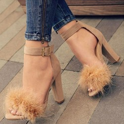 Ericdress Faux Fur Heel Covering Chunky Heel Womens Sandals