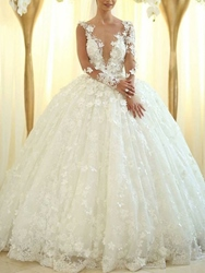 Ericdress Long Sleeves Flowers Appliques Ball Gown Wedding Dress 2019