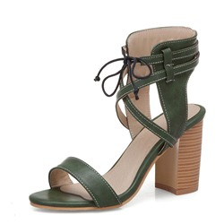 Ericdress PU Open Toe Lace-Up Chunky Heel Womens Sandals