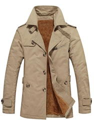 Ericdress Patchwork Slim Thick Single-Breasted Winter Mens Jacket