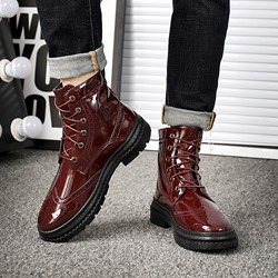 Ericdress Plain Lace-Up Round Toe Mens Martin Boots