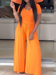 Ericdress Plain Loose Full Length Wide Legs Jumpsuit