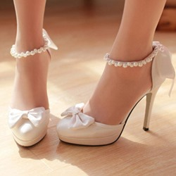 Ericdress Silk Fabric Beads Round Toe Wedding Shoes