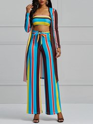 Ericdress Striped Color Block Tube Top and Trench Coat and Pants Womens Three-Piece Suit
