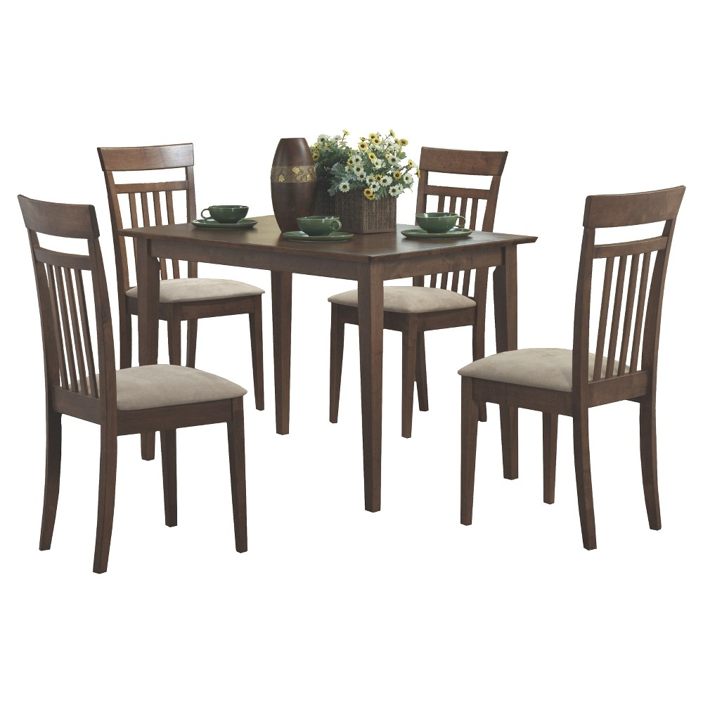 5pc Dining Set Walnut Finish - EveryRoom from EveryRoom