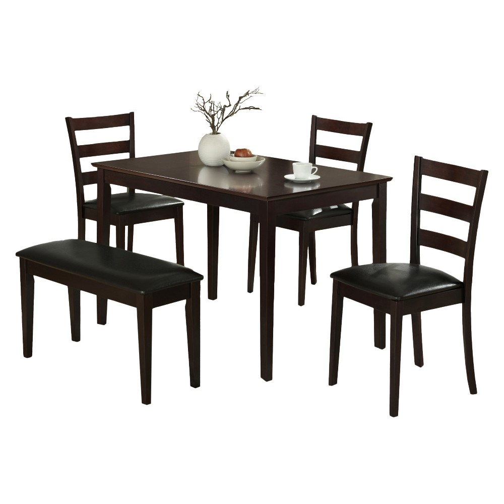 5pc Set Dining Table Set Cappuccino - EveryRoom from EveryRoom