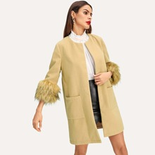Faux Fur Cuff Pocket Front Coat