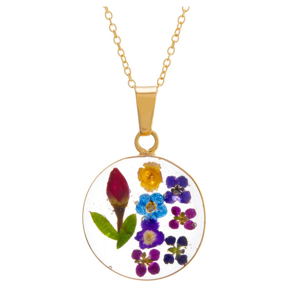 "Women's Gold over Sterling Silver Pressed Flowers Circle Pendant (18"") from Distributed by Target"