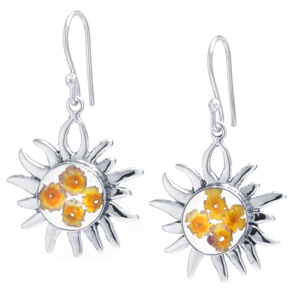 Women's Sterling Silver Pressed Flowers Sun Drop Earrings from Distributed by Target