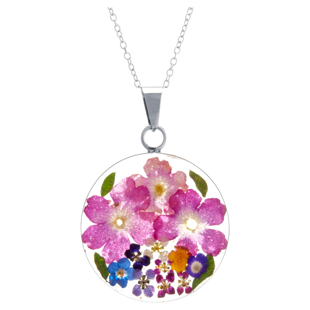 "Women's Sterling Silver Pressed Flowers Small Round Pendant (18"") from Distributed by Target"