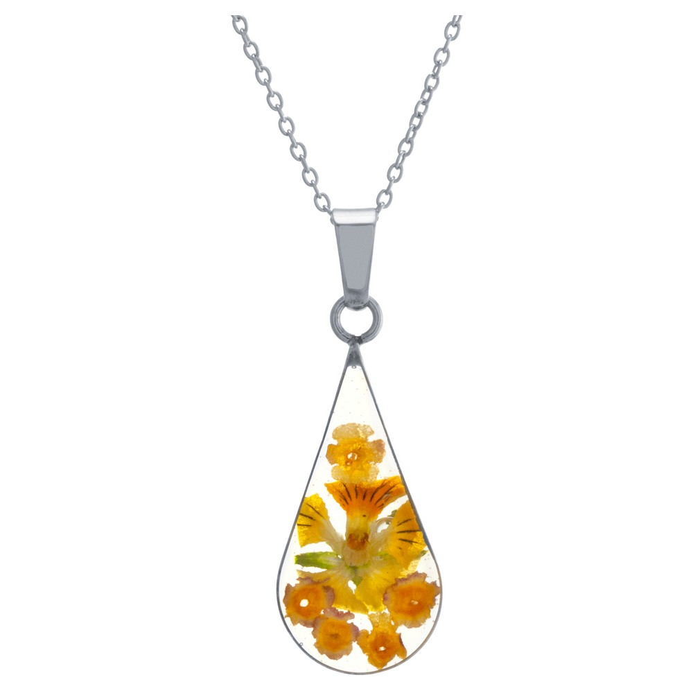 "Women's Sterling Silver Yellow Pressed Flowers Teardrop Pendant (18"") from Distributed by Target"