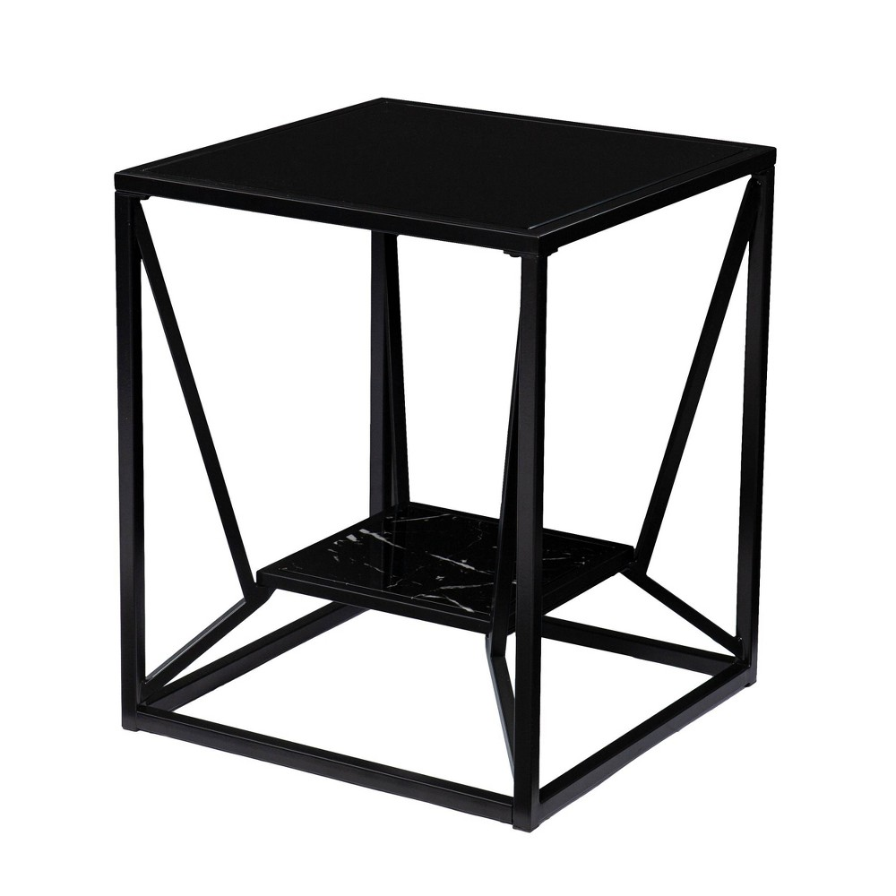 Finsfil Square Glass-Top End Table Black - Aiden Lane from Aiden Lane