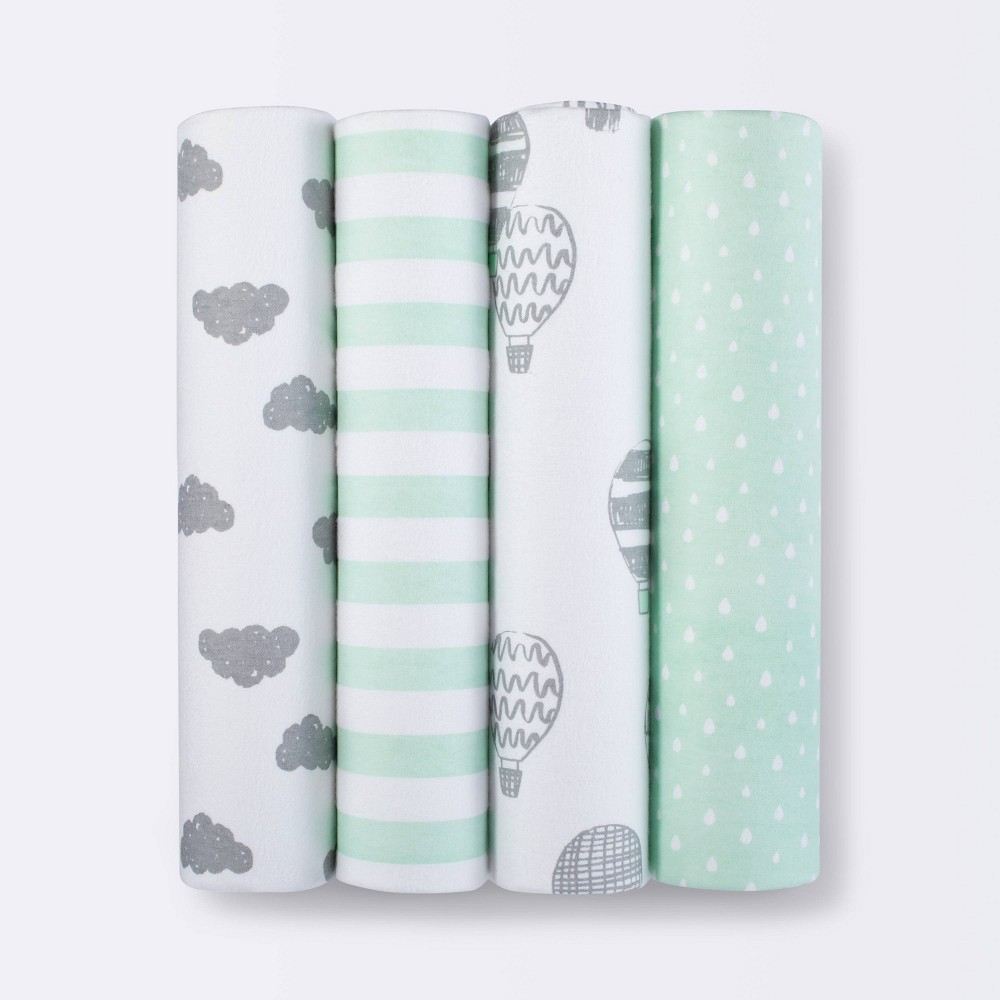 Flannel Baby Blanket In the Clouds 4pk - Cloud Island Green from Cloud Island