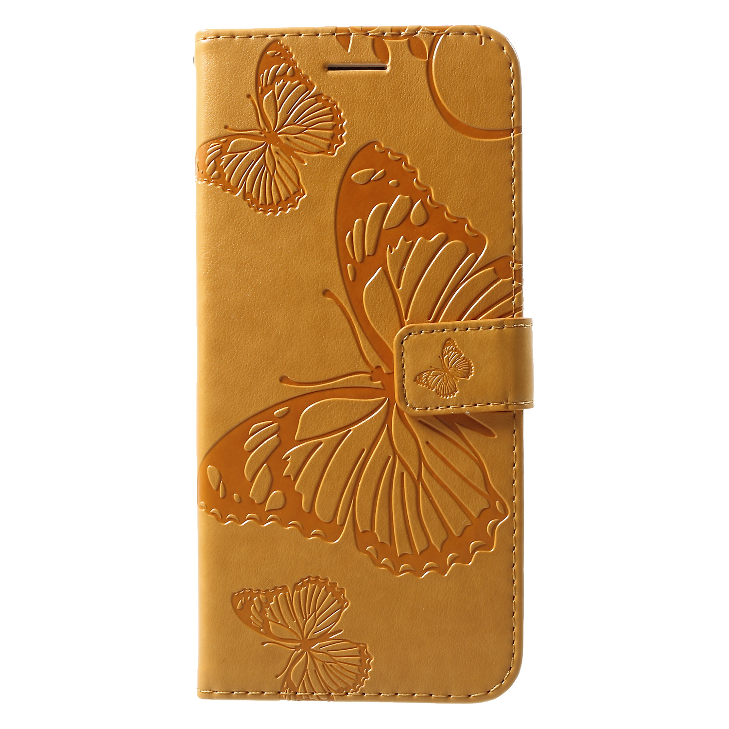For Samsung Galaxy S10 Plus [Imprint Butterfly] Wallet Leather Mobile Casing - Yellow