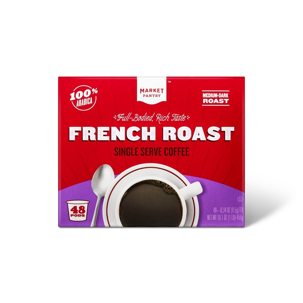 French Roast Medium Dark Roast Coffee - Single Serve Pods - 48ct - Market Pantry from Market Pantry