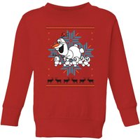 Frozen Olaf and Snowmen Kids' Christmas Sweatshirt - Red - 3-4 Years - Red from frozen