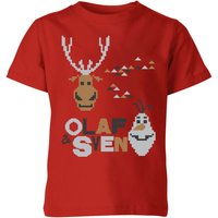 Frozen Olaf and Sven Kids' Christmas T-Shirt - Red - 3-4 Years - Red from frozen