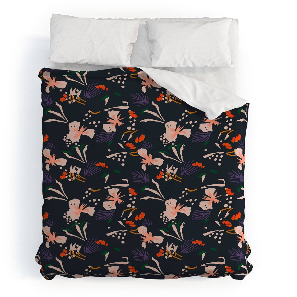Full/Queen Floral Holli Zollinger Anthology Of Pattern Seville Garden Duvet Cover Set Black - Deny Designs