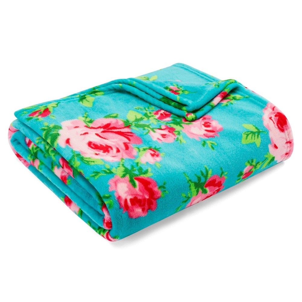 Full/Queen Printed Bed Blanket Aqua Floral - Betseyville from Betseyville