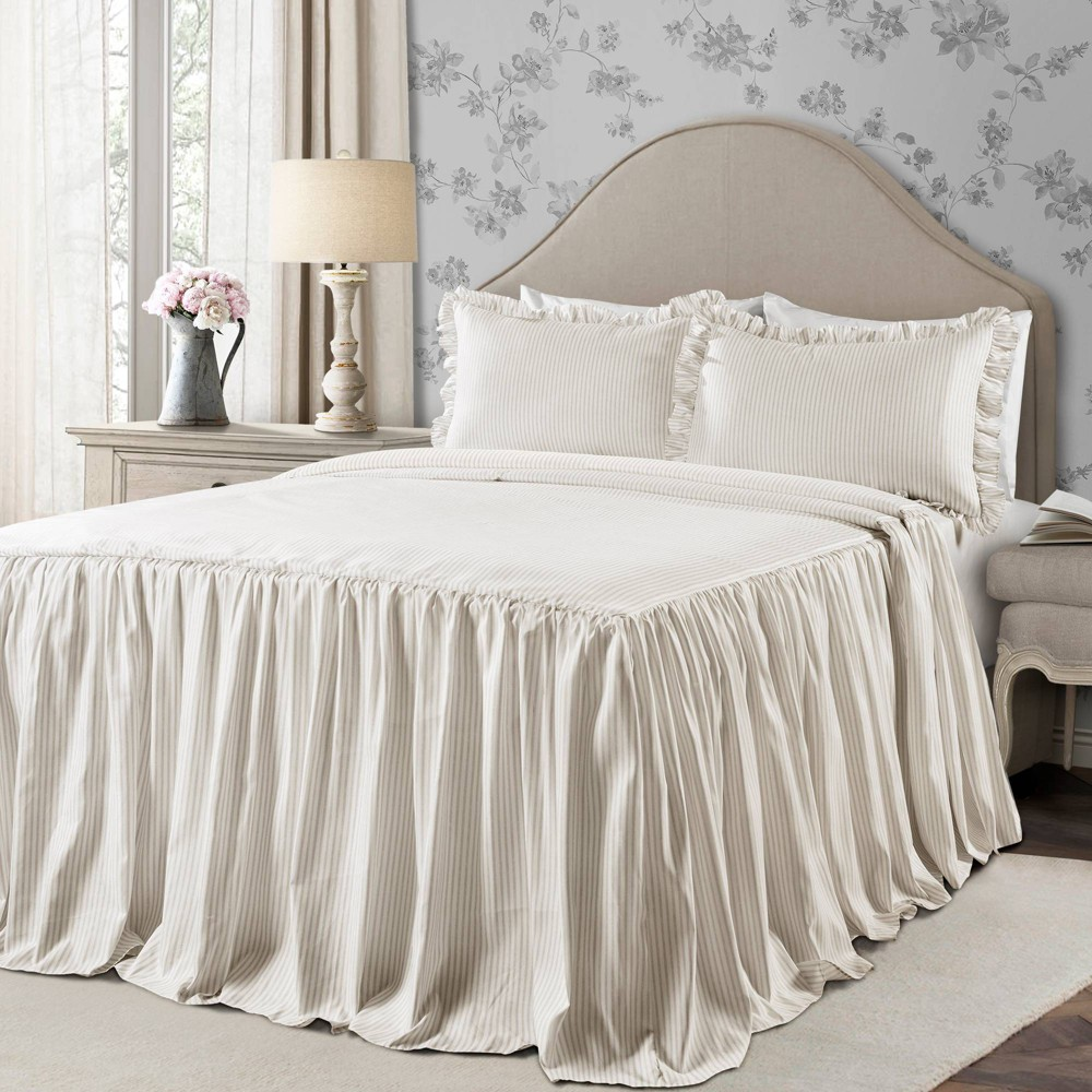 Full 3pc Ticking Stripe Bedspread Set Neutral - Lush Décor from Lush Decor
